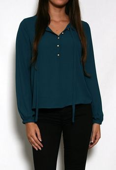Long Sleeve Thin Tie Button Front Top #PrivateGallery #PGWishList