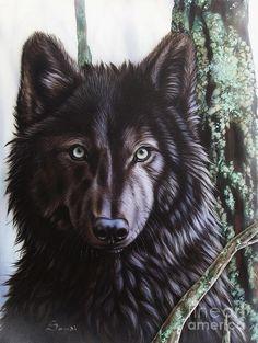 Black Wolf Painting by Sandi Baker