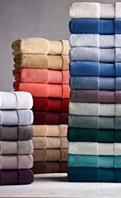 Softer and longer than towels found at many five-star hotels and spas, our Resort Cotton Towels are lofty, thick, and as luxurious as any in the world. Bathroom Towels, Bath Towels, Towel Display, Hogwarts, H Monogram, Fabric Photography, How To Fold Towels, Luxury Towels, Five Star Hotel