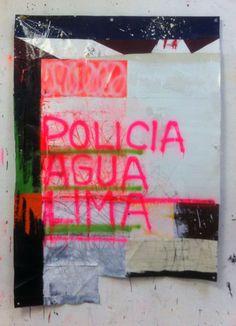 Hermann Josef Hack, POLICIA AGUA LIMA, 141223, painting and spray paint on tarpaulin, 197 x 137 cm, 2014