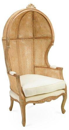 Porter Cane Canopy Chair, Biege