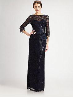 Teri Jon Beaded Lace Gown - Navy    $760.00