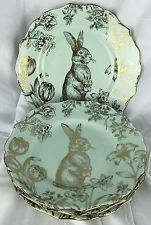 222 Fifth Bunny Hill Set of 4 Salad Plates Green Gold Easter Rabbit NWOT