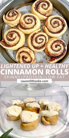 Skinny Protein, Almond Milk Cheese, Healthy Cinnamon Rolls, Yeast Packet, Breakfast Recipes, Dessert Recipes, Low Calorie Desserts, Cinnabon, Vanilla Protein Powder