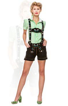 Oktoberfest leather shorts Jacky devil black h-beam