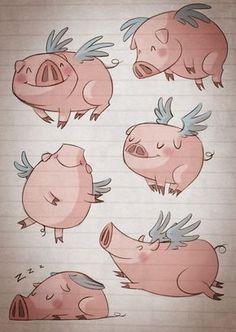 silvia_ilustracion: Ilustracion - love it! Reminds me of Cincinnati's flying pigs :)