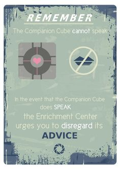 Portal Typography print A3 poster print Portal Companion cube quote. $22.00, via Etsy.