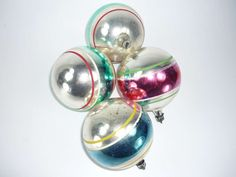 Vintage Christmas Ornaments Set of 4 Premier by ChromaticWit