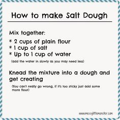 to make salt dough - Easy salt dough recipe and craft ideas How to make salt dough recipe. Simple printable recipe and salt dough craft ideas for kids.How to make salt dough recipe. Simple printable recipe and salt dough craft ideas for kids. Christmas Activities, Christmas Crafts For Kids, Baby Crafts, Toddler Crafts, Preschool Crafts, Christmas Fun, Holiday Crafts, Fun Crafts, Activities For Kids