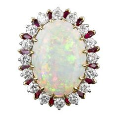 14.00 Carat Opal Ruby Diamond Gold Cocktail Ring