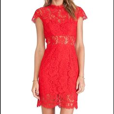 Red Lace Dress Red lace fitted mini dress with cap sleeves and and open key hole back. Sheer lace midriff and top details. Zips in the back. Saylor Dresses Mini