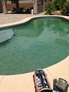 When your pool looks green because you have pebble tech surface after a dirt storm. Pool Care, Pool Service, Surface, Tech, Outdoor Decor, Green, Technology