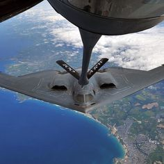 #Repost @deptofdefense  A #B2Spirit from Whiteman @OfficialUSAirForce Base Mo. performs air refueling with a KC-135 #Stratotanker from RAF Mildenhall England over Cornwall by militarytopics
