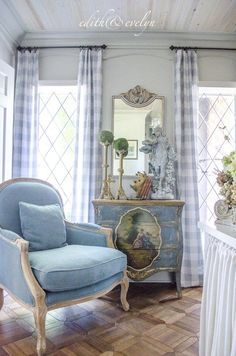 The Study Renovation Final Reveal Edith & Evelyn Vintage French Country Living Room, French Country Bedrooms, French Country Cottage, French Country Style, French Country Curtains, French Country Chairs, French Living Rooms, Rustic French, Country Kitchen