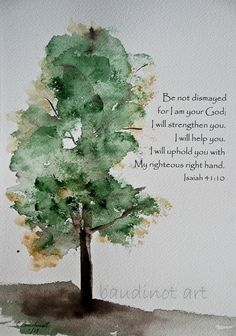 Watercolor painting of Old Oak Tree with Bible verse original fine art