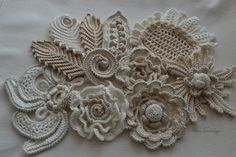 Set flower 10pcs Crochet flower Irish crochet Flower applique Irish lace Flower necklace Crochet set Irish crochet Crochet Flower fashion In a set of 10-20- pieces of crocheted leaves. Creating interesting applications with their own hands, seeing the result of their work, you are