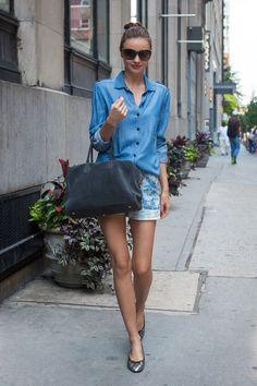 "Miranda Kerr wearing the ""Pierre"" handbag by Aurélie Bidermann & Olivier Rousteing for Balmain"