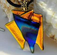 Modern Art Dichroic Gold and Rainbow Fused Glass by uniquenique, $28.00 #onfireteam #lacwe #teamfest