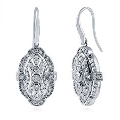 BERRICLE Rhodium Plated Sterling Silver Round Cubic Zirconia CZ Art Deco Halo Anniversary Wedding Stud Earrings