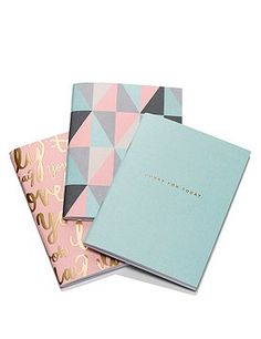 Set of 3 notebooks M&S Paper library