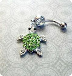 Rhinestone Turtle Belly Button Ring by SassyRiley on Etsy Belly Button Piercing Jewelry, Bellybutton Piercings, Piercing Ring, Piercing Ideas, Tongue Piercings, Cartilage Piercings, Cute Jewelry, Body Jewelry, Jewelry Accessories