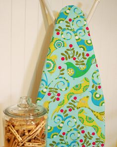 Designer Ironing Board Cover - Michael Miller's Pretty Bird in Aqua Aqua Background, Ironing Board Covers, How To Iron Clothes, Michael Miller, Tool Organization, Pretty Birds, Glass Jars, Furniture Decor, House Warming