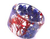 Purple and Red Resin Bangle.  Sophisticated Bracelet with Pressed Flowers.  Purple Larkspur and Giant Red Baby's Breath