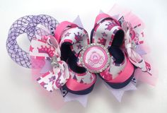 Pink And Purple Princess Carriage Hair Bow by JustinesBoutiqueBows