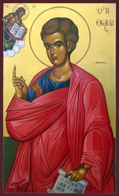 Saint Thomas the Apostle Archangel Gabriel, Archangel Michael, Byzantine Art, Byzantine Icons, Religious Images, Religious Art, Luke The Evangelist, Andrew The Apostle, St Constantine