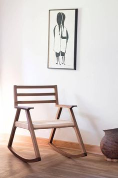 Giacomo Rocking Chair, Walnut and Woven Paper Cord