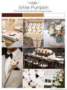 White Pumpkin Fall Wedding | Fall Wedding Ideas | White Pumpkin Theme | Fall Wedding Inspiration Board | Dream weddings at www.EventDazzle.com
