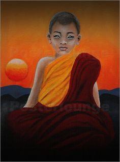 Little Monk, Zen, Buddhismus, Meditation, Wellness, Tempel, Sunset, Buddha, Texturbild: Poster & Kunstdruck von ANOWI