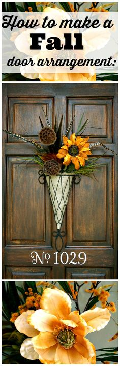 Decor Step by step directions to create 2 different fall door arrangements.Step by step directions to create 2 different fall door arrangements. Fall Wreaths, Door Wreaths, Fall Crafts, Diy Crafts, Decor Crafts, Seasonal Decor, Holiday Decor, Fall Door Decorations, Arte Floral