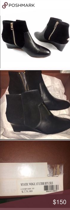 Coach Leather & Suede Mystic Wedge Bootie Shoes 9 Coach Leather & Suede Mystic Wedge Bootie Shoes 9, on the narrow side, brand new in Box. Size 9. Gorgeous leather and suede combo. Side zip. Retail $228🔹No Trades🔹price firm Coach Shoes