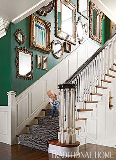 Decorating with antique mirrors This gallery wall arrangement of mismatched mirrors makes a pretty statement along a stairwell wall. We especially love the way the gilded gold pops against the emerald wall. This look is exciting but still works well with Stairwell Wall, Mirror Stairs, Gallery Wall Staircase, Staircase Wall Decor, Mirror House, Staircase Walls, Mirror Gallery Wall, Wall Of Mirrors, Gallery Walls
