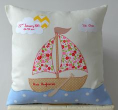 Personalised keepsake gift to welcome a new baby girl. Features applique boat, clouds and sun and hand embroidered name and details. New Baby Girls, Diaper Bag, New Baby Products, Applique, Boat, Clouds, Sun, Pillows, Bedroom