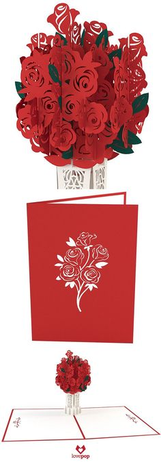Hidden inside a red card hides a beautiful paper rose bouquet. Watch the paper art pop up from this lovely card.