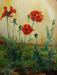 Artwork >> Mazouz Patrice >> poppies in the wind h / linen #artwork, #poppies, #flowers  #oil, #painting, #masterpiece, #nature