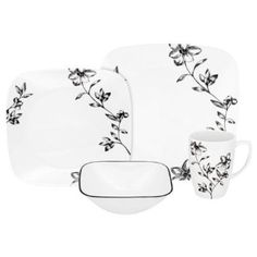 An elegant ambiance will be present in your home every night with this Corelle® Favourite Fleur™ dinnerware set. The black and white floral pattern adds an upscale touch to any dinner table. Plastic Dinnerware, Porcelain Dinnerware, Casual Dinnerware, Dinnerware Sets, Dinner Sets, Dinner Ware, Plate Design, Bedding Shop, Beautiful Bedrooms
