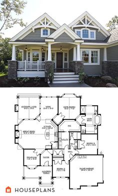 Craftsman house plan by a Washington State designer. The plan includes large master bathroom and closets. The Plan, How To Plan, Layouts Casa, House Layouts, House Layout Plans, Craftsman Style Homes, Craftsman House Plans, Craftsman Exterior, Craftsman Bungalows