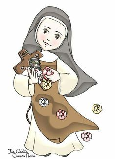 Santa Terezinha Catholic Art, Catholic Saints, Roman Catholic, Religious Art, Santa Cartoon, Jesus Cartoon, Sainte Therese, St Therese Of Lisieux, Bride Of Christ