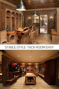 Stunning tack rooms in beautiful barns.