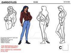 """This is a reference sheet of Detective Elisa Maza from series """"Gargoyles"""". I helped color style this character during my stint in Nelvana Studios where . Disney Concept Art, Disney Art, Disney Pixar, Walt Disney, Elisa Maza, Disney Queens, Feminist Men, Thor X Loki, Fanart"""