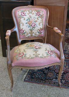 Idea for my French tapestry arm chair: pink floral needlepoint tapestry. ~ Idea for my French tapestry chair: pink tapestry fabric. ~ RARE 18th Century French Louis XVI Style Belgium Armchair Needlepoint Upholstery | eBay