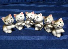 Gray Tabby Kitten Family/ 6 Vintage Cat Figurines by CurioCabinet, $8.00