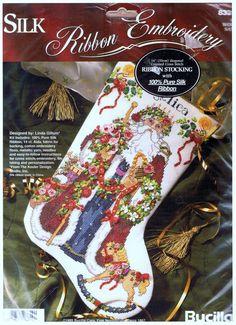 1995- Bucilla Silk Ribbon Embroidery & Counted Cross Stitch OLD WORLD SANTA Christmas Stocking Kit Designed by Linda Gillum    Approximate Size