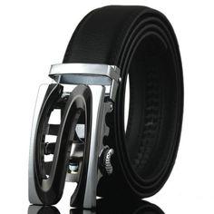 114de079f6022 WOWTIGER Automatic Alloy Buckle Leather Belt for men