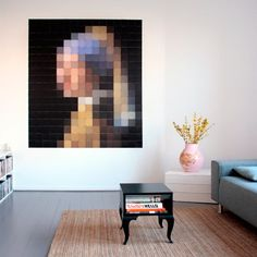 Modern, abstract wall decoration of 'Girl with the Pearl Earring' by Johannes Vermeer