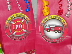 Fire Truck Party Favor Goody Bags Firetruck by ReadySetCreate, $1.55 Fireman Party, Goody Bags, Firetruck, Birthday Bash, First Birthdays, Party Favors, Goodies, Unique Jewelry, Handmade Gifts