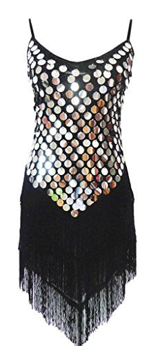 """Eyekepper Tassel Sequins Latin Dance Dress. Fabric:Mesh. Delicate cold water wash only. Size: one size fit from US2 to US14 / Bust=31""""-36"""" Hip=32""""-37"""" Length=41""""(including the length of Spaghetti Straps.The Spaghetti Straps is adjustable). It has chest pad. 10-14 Days arrive for Standard (FREE) Shipping via USPS, 4-7 Days arrive for Expedited Shipping via DHL. Please kindly understand that maybe the COLOR is not 100% the same as the actual product because of the camera, monitor, or any other…"""